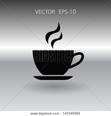 Flat long shadow Cup of hot drink icon, vector illustration