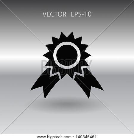 Flat long shadow Award icon, vector illustration