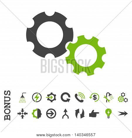 Gears vector bicolor icon. Image style is a flat pictogram symbol, eco green and gray colors, white background.