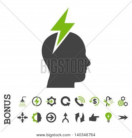 Headache vector bicolor icon. Image style is a flat iconic symbol, eco green and gray colors, white background.