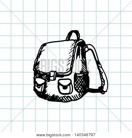 Hand drawn doodle schoolbag. Black pen outline, notebook background. Pupil, student, school, education.