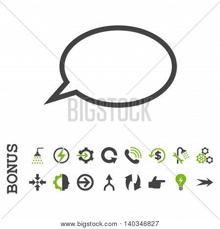 Hint Cloud vector bicolor icon. Image style is a flat pictogram symbol, eco green and gray colors, white background.