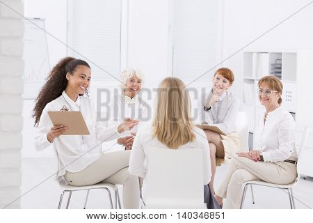 The Circle Of Attractive Businesswomen