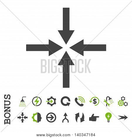 Impact Arrows vector bicolor icon. Image style is a flat pictogram symbol, eco green and gray colors, white background.