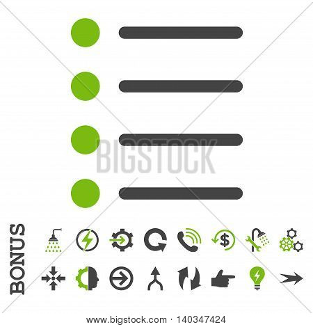 Items vector bicolor icon. Image style is a flat iconic symbol, eco green and gray colors, white background.