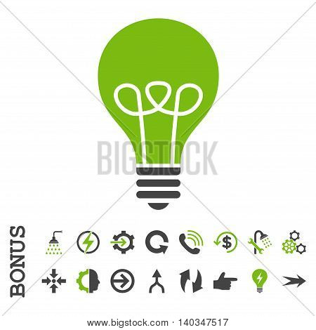 Lamp Bulb vector bicolor icon. Image style is a flat pictogram symbol, eco green and gray colors, white background.