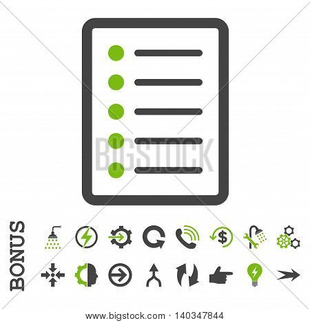 List Page vector bicolor icon. Image style is a flat pictogram symbol, eco green and gray colors, white background.