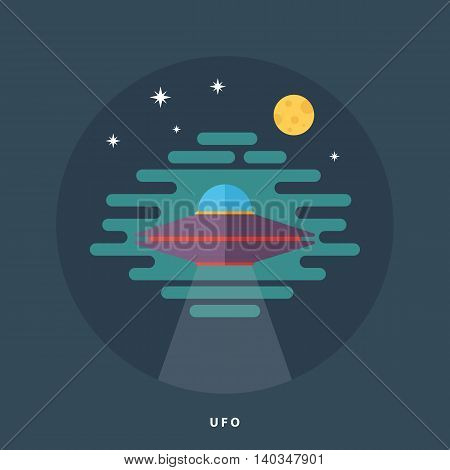 Ufo spaceship flat icon. Unidentified flying object. Space fantastic vector illustration.