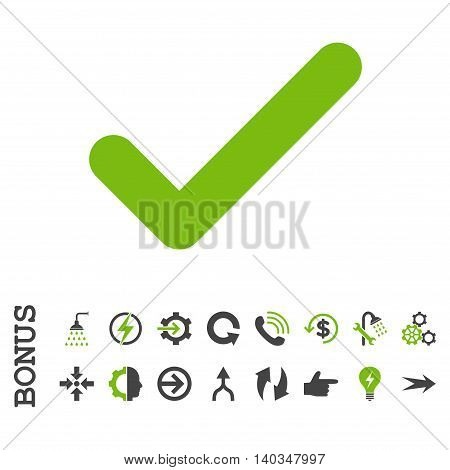 Ok vector bicolor icon. Image style is a flat iconic symbol, eco green and gray colors, white background.