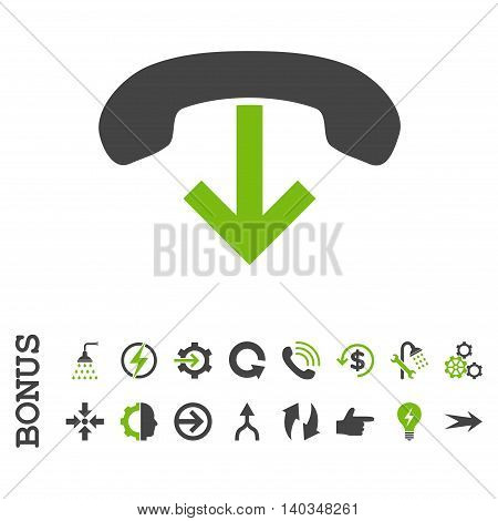 Phone Hang Up vector bicolor icon. Image style is a flat iconic symbol, eco green and gray colors, white background.