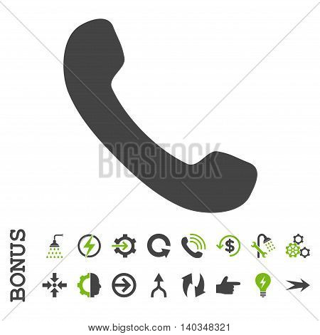 Phone Receiver vector bicolor icon. Image style is a flat iconic symbol, eco green and gray colors, white background.