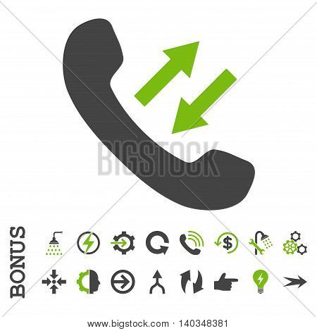 Phone Talking vector bicolor icon. Image style is a flat pictogram symbol, eco green and gray colors, white background.