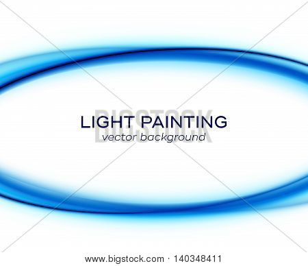 Vector banner design template with abstract blue color glowing curves isolated on white background. Bright colorful illustration of light painting special effect with transparency
