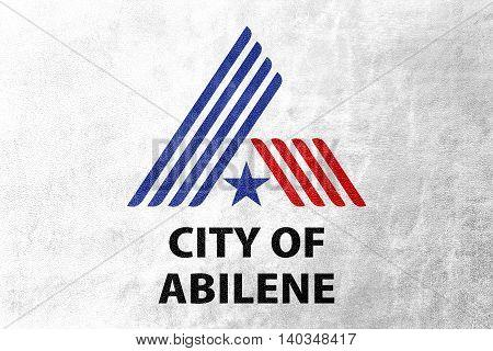 Flag Of Abilene, Texas, Usa, Painted On Leather Texture