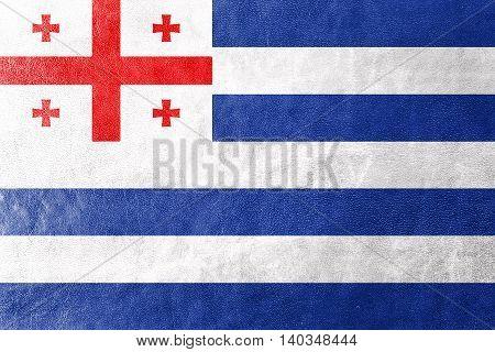 Flag Of Adjara, Georgia, Painted On Leather Texture