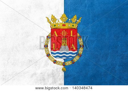 Flag Of Alicante, Spain, Painted On Leather Texture