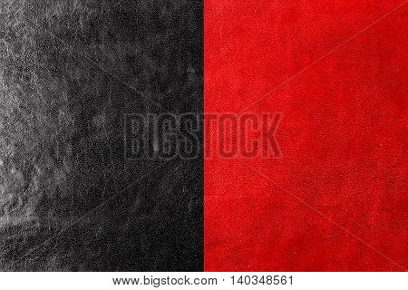 Flag Of Aosta Valley, Italy, Painted On Leather Texture