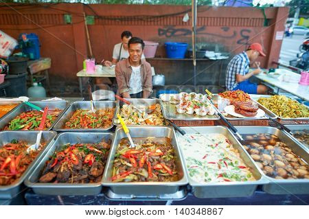PATTAYA, THAILAND - FEBRUARY 21, 2016: street market in Pattaya. There are few street markets in Pattaya that are popular with tourists and locals