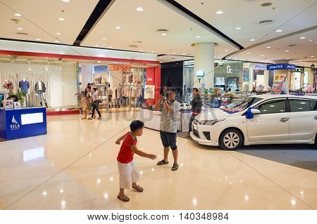 PATTAYA, THAILAND - FEBRUARY 22, 2016: inside of Central Festival Pattaya. Central Festival Pattaya Beach is a shopping mall in Pattaya, Thailand.