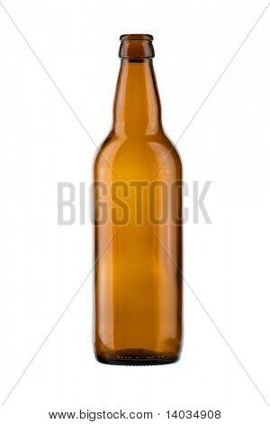 leere Flasche auf weißem Grund