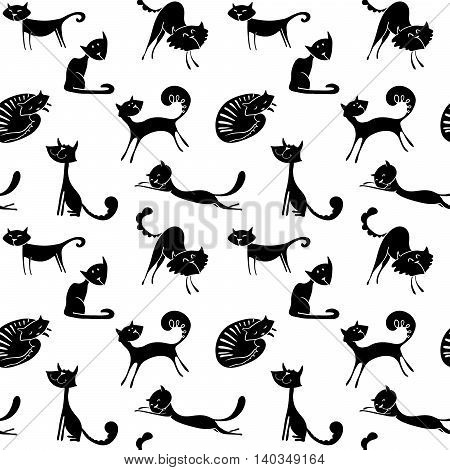 Black and white vector cats seamless pattern