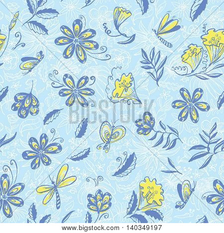 Doodle vector floral seamless blue pattern with butterfly