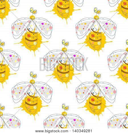 Seamless Pattern Wirh Wasp