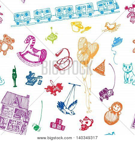 Hand drawn doodle toys seamless pattern. Colored objects, white background. Play, game, kids, children, child, poster, flyer, design.