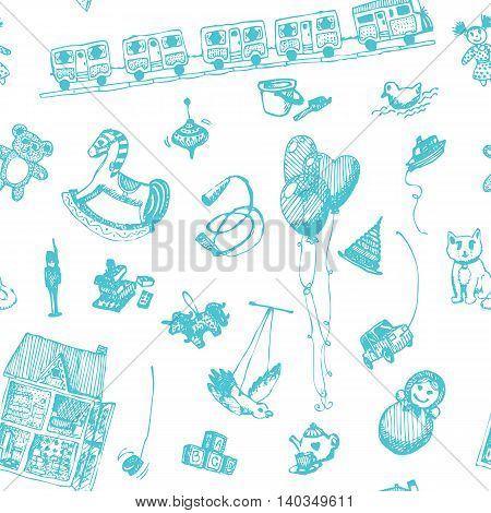 Hand drawn doodle toys seamless pattern. Light blue pen objects, white background. Play, game, kids, children, child, poster, flyer, design.