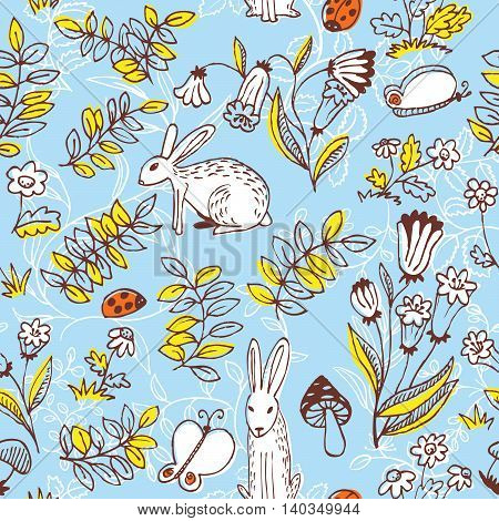 Doodle floral seamless pattern with rabbits, ladybird and butterfly