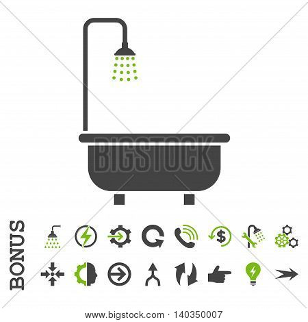 Shower Bath vector bicolor icon. Image style is a flat iconic symbol, eco green and gray colors, white background.