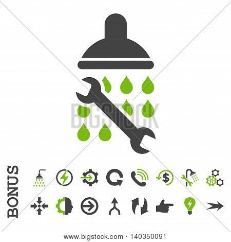 Shower Plumbing vector bicolor icon. Image style is a flat pictogram symbol, eco green and gray colors, white background.