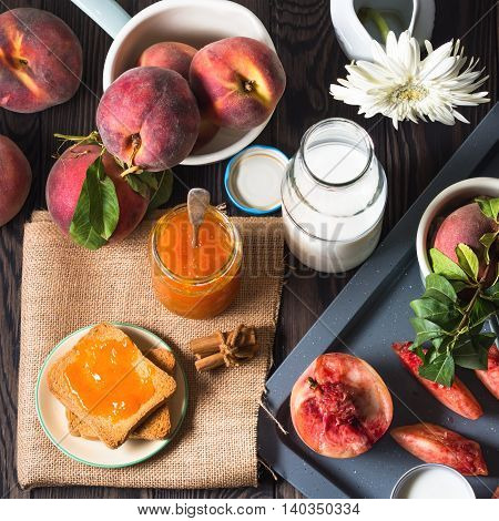 Summer Breakfast With Fruit And Toasts On Rustic Background