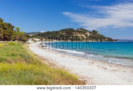 Beautiful beach near Possidi village, Halkidiki, Greece