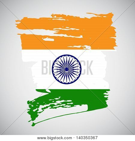 Brush stroke background in indian flag colors for your design. Vector illustration.
