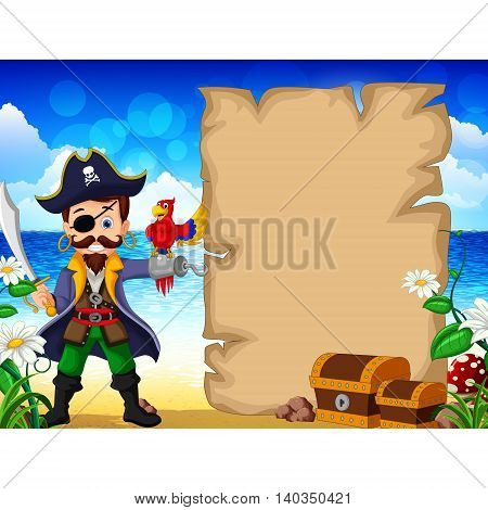 Cartoon pirate and parrots with blank sign