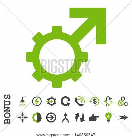Technological Potence vector bicolor icon. Image style is a flat pictogram symbol, eco green and gray colors, white background.