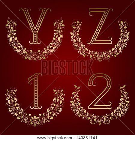 Y Z vintage monograms and 1 2 numbers in floral wreaths. Set of golden symbols in laurels.
