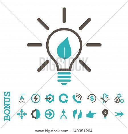 Eco Light Bulb vector bicolor icon. Image style is a flat iconic symbol, grey and cyan colors, white background.
