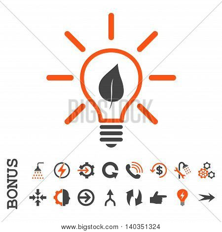 Eco Light Bulb vector bicolor icon. Image style is a flat iconic symbol, orange and gray colors, white background.