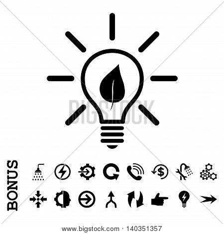 Eco Light Bulb vector icon. Image style is a flat pictogram symbol, black color, white background.