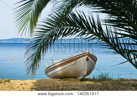White boat under palm tree on a sandy beach at morning, west coast of Sithonia, Greece
