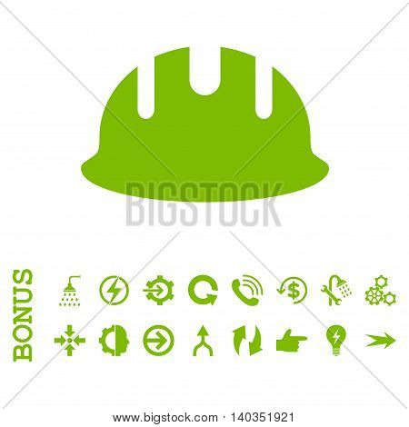 Builder Hardhat vector icon. Image style is a flat pictogram symbol, eco green color, white background.