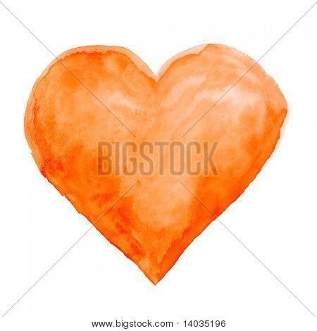 Aquarela mão pintada de coração
