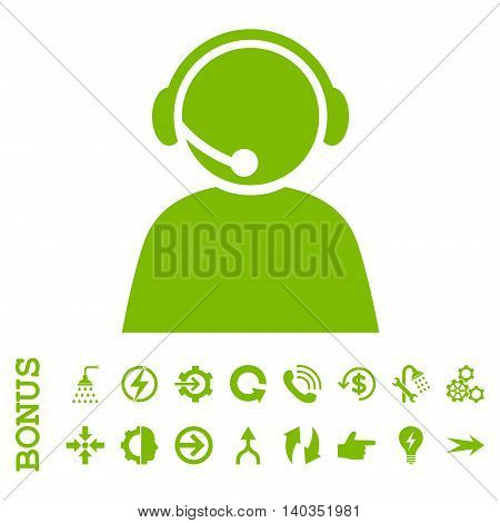 Call Center Operator vector icon. Image style is a flat pictogram symbol, eco green color, white background.