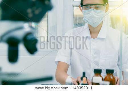 The Scientist Test In Lab Or Science Research,science Concept.scientist Work In Process At Laborator