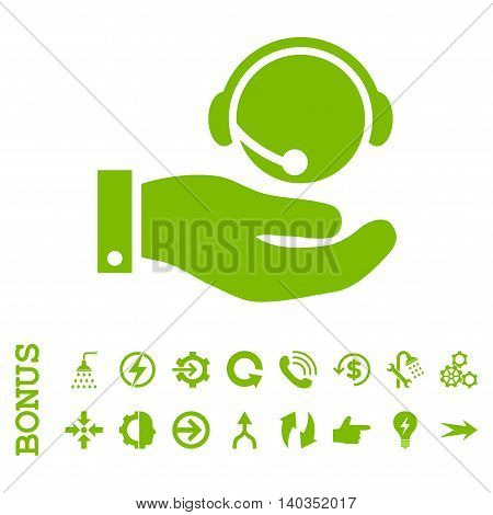 Call Center Service vector icon. Image style is a flat iconic symbol, eco green color, white background.