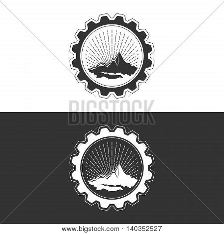 Sunburst and the Mountains in Gear on White and Gray Background, Mining Industry, Logo Design Element, Vector Illustration