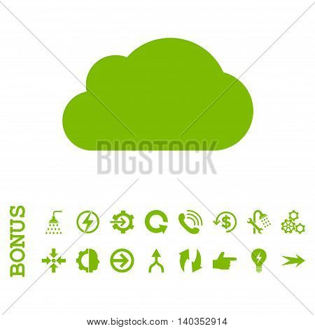 Cloud vector icon. Image style is a flat pictogram symbol, eco green color, white background.