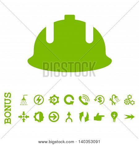 Construction Helmet vector icon. Image style is a flat iconic symbol, eco green color, white background.